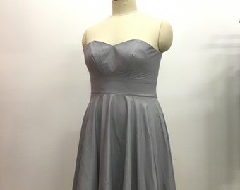 Gray Strapless Knee Length Sweat Heart Strapless Dress with bust pleating detail READY TO SHIP Plus Size 22