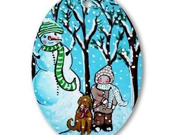 Snowman Child Dog Holiday Christmas Fun Whimsical Colorful Oval Porcelain Ornament