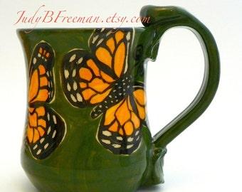 Butterflies Mug Monarchs on Green Handmade Stoneware Ceramic Made to Order MG0051