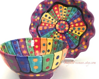 Handmade Stoneware Ceramic Rainbow Striped Breakfast Bowl and Plate Set Ready to Ship BP001