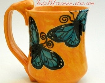 Ceramic Handmade Stoneware Mug Blue Morphos Butterfly Made to Order MG0028