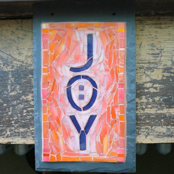 Joy Sunrise Mosaic Sign on Slate