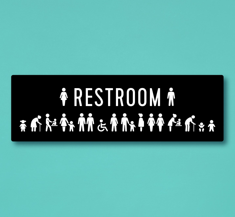 All Gender Restroom Sign With Including Mens' Changing