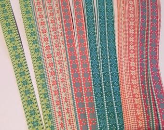 "3/4"" Weaving Star Paper~ Nordic Diamond/Star Prints (50 strips)"