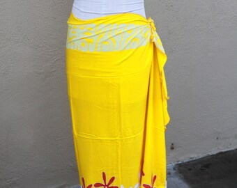 Yellow, light yellow, orange and white tattoo tiare premium Tahitian pareo Full or half sized, Tahitian costume skirt