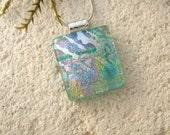 Petite Necklace, Green Silver Rainbow, Dichroic Necklace, Fused Glass Jewelry, Dichroic Jewelry, OOAK Pendant, Silver Chain,  052316p107