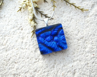 Petite Cobalt Blue Necklace, Dichroic Jewelry, Fused Glass Jewelry,Glass Necklace, Fused Glass Pendant, Dichroic Necklace,  061216p112