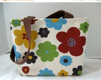 40% Off Small Floral Purse - Bold Flowers Tote Bag - Small Fall Purse - Bold Colors
