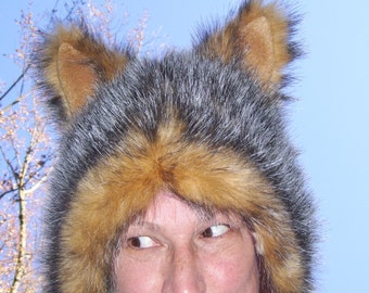 Furry Wolf Hat Ears Brown with Black White Tips Fur Warm Winter Adult Costume Hat