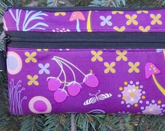 Pretty mini wallet, purse organizer, wristlet, iPhone purse, Helen's garden,  Sweet Pea