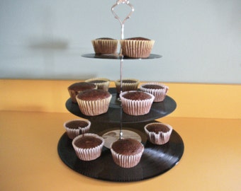 3 Tier Record Album Cupcake Stand - DISNEY - Upcycled LPs
