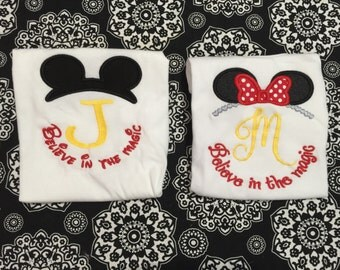 Mouse ears  Inspired monogrammed shirts Believe in the magic custom size 12m - 14 years youth size