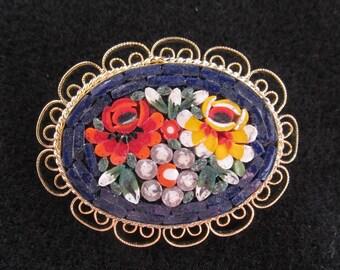 Vintage Micro Mosaic Jewelry Brooch Pin Filigree Edge