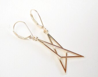 14k Gold Minimalist Earrings, Geometric Solid Gold Earrings, Elemental Jewellery