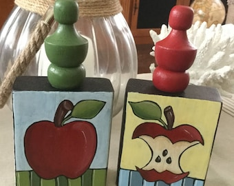 Apples - painted on wood block - set of 2