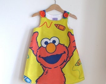 Elmo Sesame Street Toddler Girls Children's Dress - Size 3T - Bright Rainbow Frock