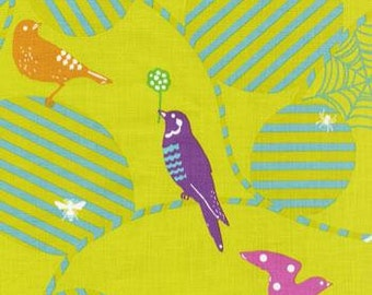 Echino Birds Web Yellow Green OOP Fabric- HALF YARD