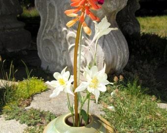 Ikebana Vase with Flower Frog in Garden Colors