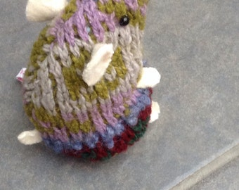 Chunky knit plush hamster made from recycled jumper sweater