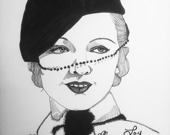 RESERVED ROSEMARY Myrna Loy 9x12 original ink line drawing