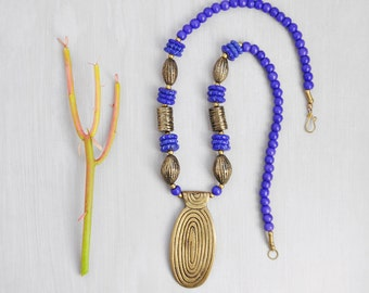 Vintage Blue Bone Necklace - cobalt dyed beads with bold brass pendant - tribal boho chic jewelry