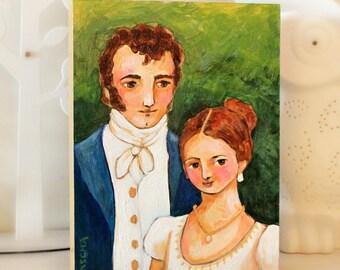 Pride and Prejudice Mr. Darcy and Elizabeth ORIGINAL painting acrylic portrait painting artwork illustration by artist Tascha