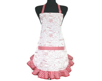 Chicken Soup Recipe on Retro Style Apron with Red and White Check Ruffle