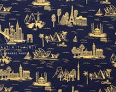 Cotton + Steel Les Fleurs lawn - city toile - navy metallic - 50cm - PRESALE
