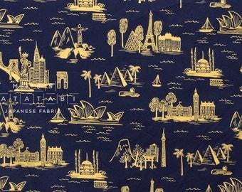 Cotton + Steel Les Fleurs lawn - city toile - navy metallic - 50cm