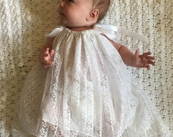 Beautiful white lace baptism christening gown size preemie to 2