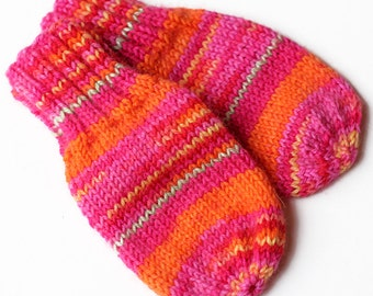 No String Thumbless Mittens. Knit Winter Mitts Without Thumbs. Cordless Infant Hand Warmers. Wool Blend No Thumb Baby Mittens