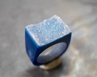 Blue druzy ring /  statement Druzy ring /  Geod ring / stone ring / Agate druzy ring size 7.75