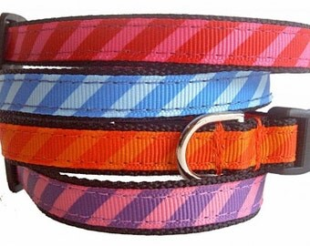 Candy Stripe Dog Collar Nylon Webbing * You Choose Color *
