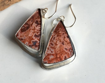 Rosetta Stone Earrings, Sterling Silver, Crazy Lace, Cabs Set in Silver, Southwest Style, Pink, Red Stones