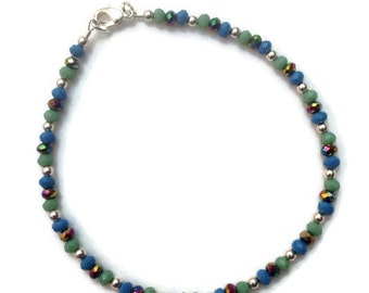 "10"" Blue, Green And Purple AB Glass Crystal Anklet"