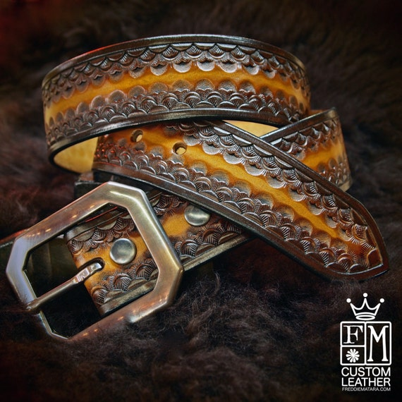 Brown Leather Belt Custom Sunburst finish Hand Tooled made for YOU in New York City by Freddie Matara