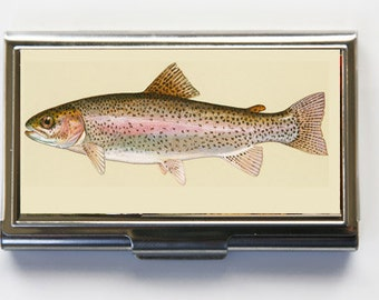 Rainbow Trout fish Business Card Holder Card Case fisherman outdoors