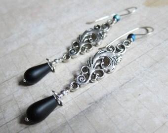 A Victorian Hallowe'en 2016 - Silver Filigree Earrings with Matte Black Glass
