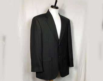 Vintage Men's Jacket, Sportcoat, Blazer, Navy Pinstripe, Towncraft, Penny's, 1980s, Medium