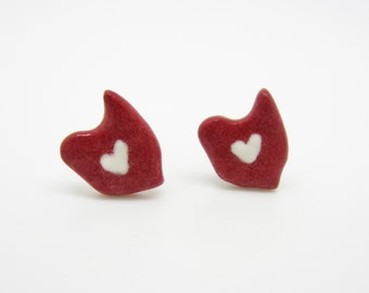 Red and White Ceramic Ohio Earrings on Titanium Posts 100% Nickel Free Heart of it All