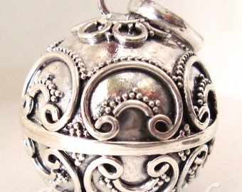 """large 22mm  Sterling silver pregnancy bola harmony ball musical jingle chime charm pendant 18 - 40"""" chain necklace"""