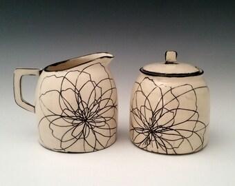 Ceramic Creamer and Sugar Set Handmade Porcelain Cream and Sugar, Modern Black and White Pottery