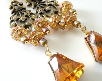 Vintage Style Earrings, Topaz, Crystals, Bell Shape Drops, Long Dangles, Beaded Jewelry, Beaded Earrings, Banana Bob Style, Gold, Brass