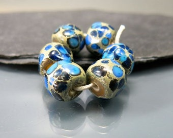 Handmade Lampwork Nugget Beads by GlassBeadArt … Blue  Rocks ... SRA F12 ... 10x12mm