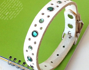 White Leather Dog Collar with Emerald Green Crystals for Small Dog, to fit a 9-12 Neck, OOAK