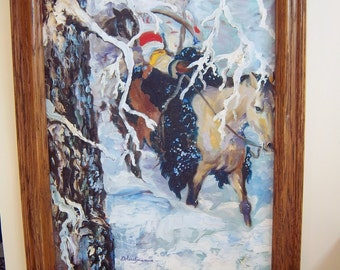 large painting of American indian trapper snowscene