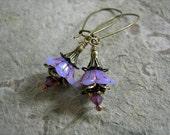 Lavender Sprite Earrings, Tiny Flowers, Dainty Lightweight Earrings, Cottage Chic, Boho Romantic, Minimal Earrings, Elksong Jewelry