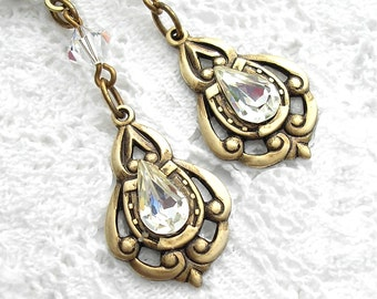 Ice Crystals - Swarovski Rhinestone Drop Earrings - Antiqued Brass