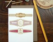 letterpress happy birthday cigar label inspired greeting card red burgundy gold
