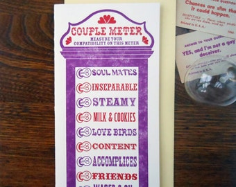 letterpress customizable vintage arcade couple meter anniversary wedding greeting card